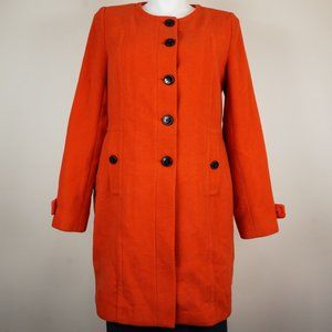 Worthington Pea Coat Vibrant Orange Wool Blend Mod